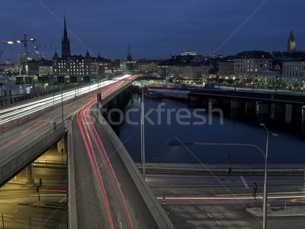 Autopista tiro la exposición a largo tiempo horizonte coche Foto stock © gemenacom