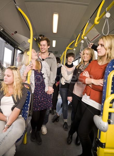 Mensen bus groep mensen vrouwen paar tijd Stockfoto © gemenacom