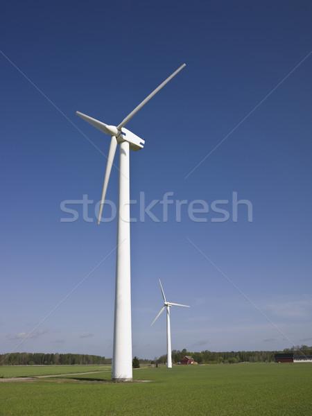 Vent centrale électrique ciel bleu nuages Photo stock © gemenacom
