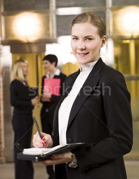 üzletasszony szervez naptár üzlet szépség öltöny Stock fotó © gemenacom