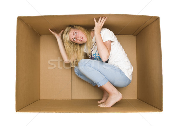 Woman inside a Cardboard Box Stock photo © gemenacom