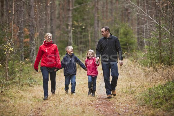 Sétál család erdő tavasz gyermek anya Stock fotó © gemenacom