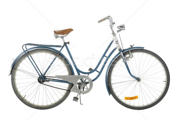 Ouderwets fiets Blauw geïsoleerd witte zwarte Stockfoto © gemenacom