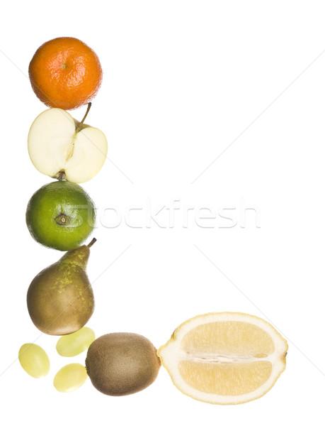 Letter l uit vruchten geïsoleerd witte school Stockfoto © gemenacom