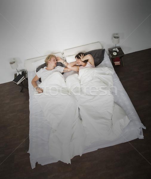 храп человека сердиться жена спальня любви Сток-фото © gemenacom
