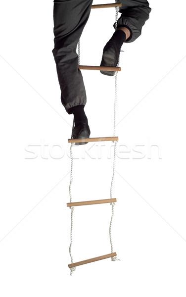 Escalada para cima corda escada negócio homens Foto stock © gemenacom