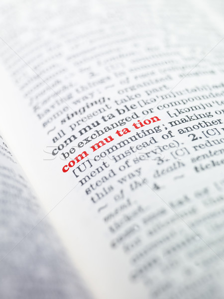 The word 'commutation' highlighted in a dictionary Stock photo © gemenacom