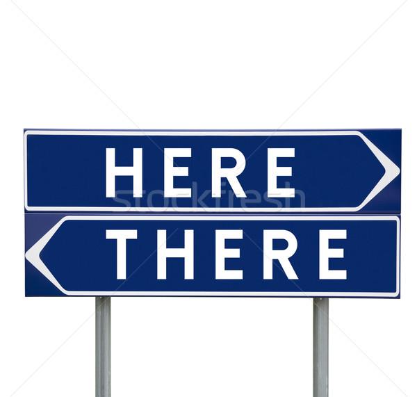 Aquí las senales de tráfico aislado resumen signo cartel Foto stock © gemenacom