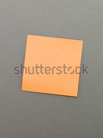 Orange adhésif note note gris papier Photo stock © gemenacom