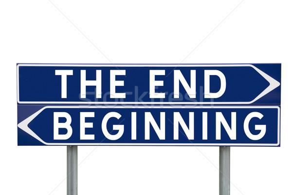 Befejezés kezdet kék irányítás feliratok választás Stock fotó © gemenacom