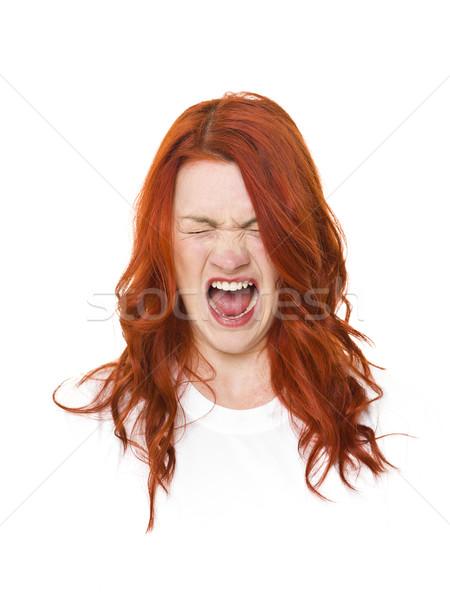 Rood vrouw geïsoleerd witte portret Stockfoto © gemenacom
