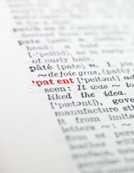 Szó szabadalom szótár papír könyv piros Stock fotó © gemenacom