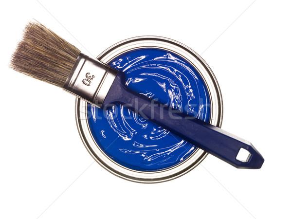Blue Paint can with brush Stock photo © gemenacom