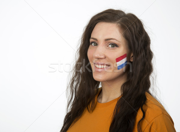 Nederlands meisje jong meisje vlag geschilderd gezicht Stockfoto © gemenacom