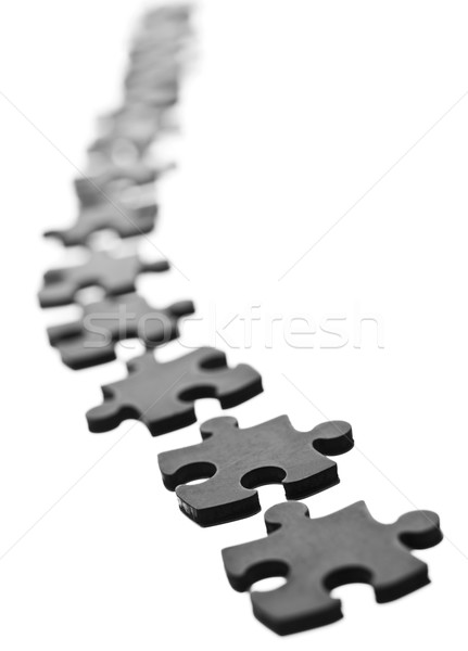 Stukken zwarte rij geïsoleerd witte Stockfoto © gemenacom