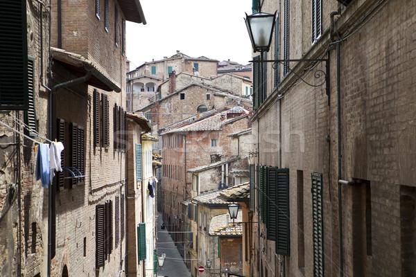 Włoski w. widoku okno lata dachu Zdjęcia stock © gemenacom
