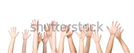 Grupo mãos ar isolado branco mulheres Foto stock © gemenacom