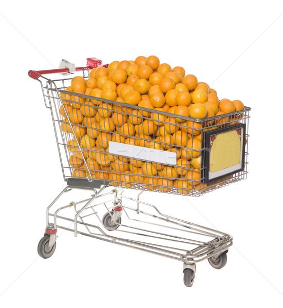 Carrello grande gruppo arance isolato bianco business Foto d'archivio © gemenacom