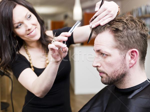парикмахерская человека дизайна мужчин рабочих Сток-фото © gemenacom