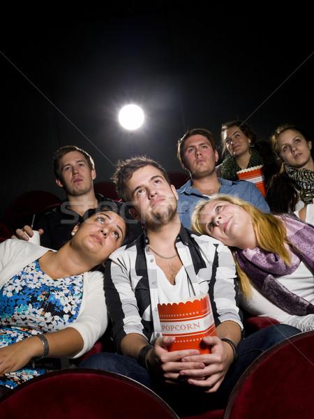 Ludzi kina młody człowiek dwie kobiety film teatr Zdjęcia stock © gemenacom