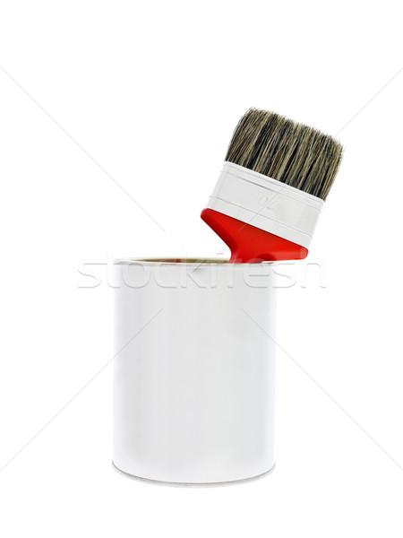Festékes flakon piros ecset izolált fehér festék Stock fotó © gemenacom