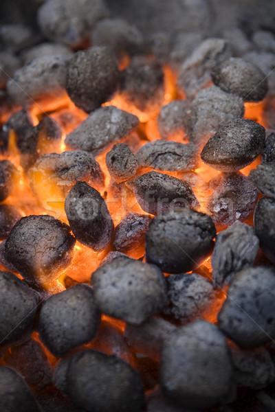 Barbekü kömür tam kare pişirme alev kamp Stok fotoğraf © gemenacom