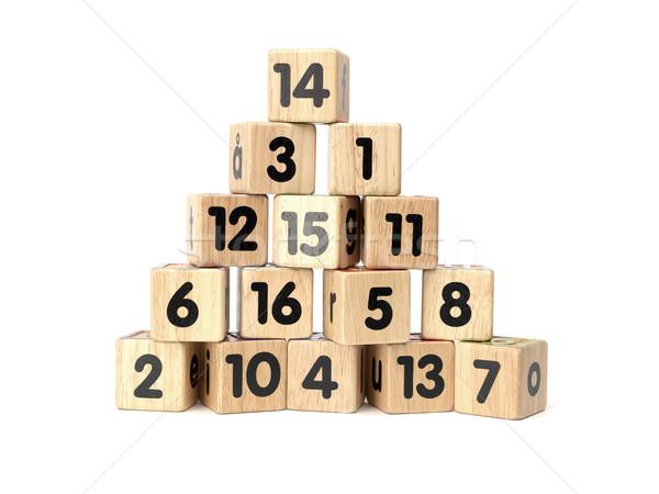 Blokken nummers geïsoleerd witte onderwijs Stockfoto © gemenacom