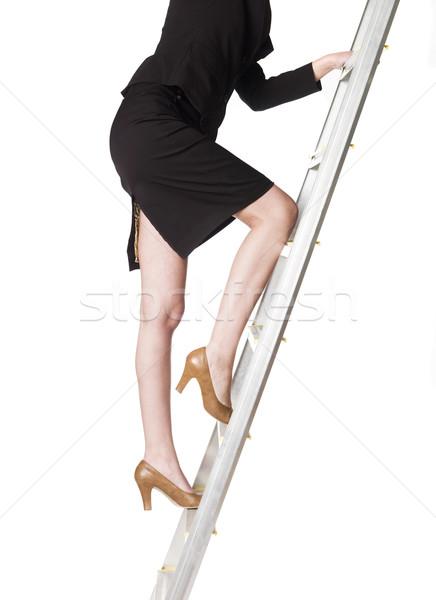 Vrouw klimmen omhoog ladder meisje schoenen Stockfoto © gemenacom
