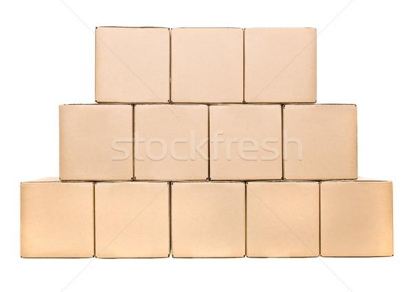 Stockfoto: Karton · dozen · gesloten · geïsoleerd · witte
