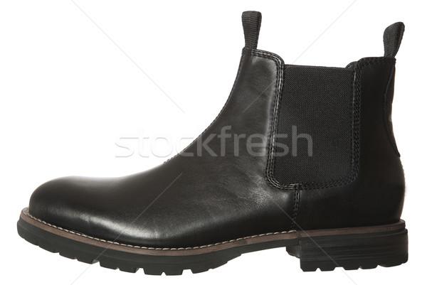 Fekete csizma izolált fehér cipő ruházat Stock fotó © gemenacom
