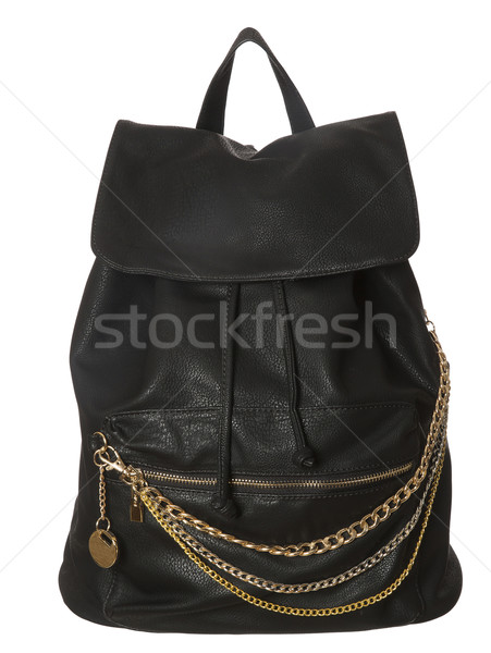 Noir cuir sac isolé blanche design Photo stock © gemenacom