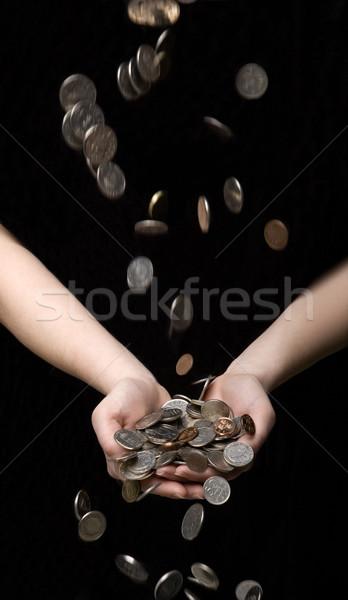 Esik az eső érmék kezek fekete hátterek bankügylet Stock fotó © gemenacom