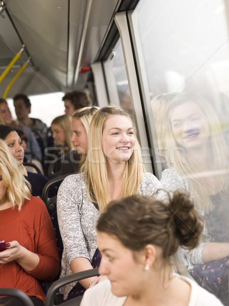Gelukkig vrouw bus vrouwen venster schoonheid Stockfoto © gemenacom