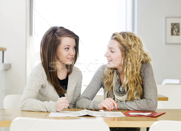 two girls studying Stock photo © gemenacom