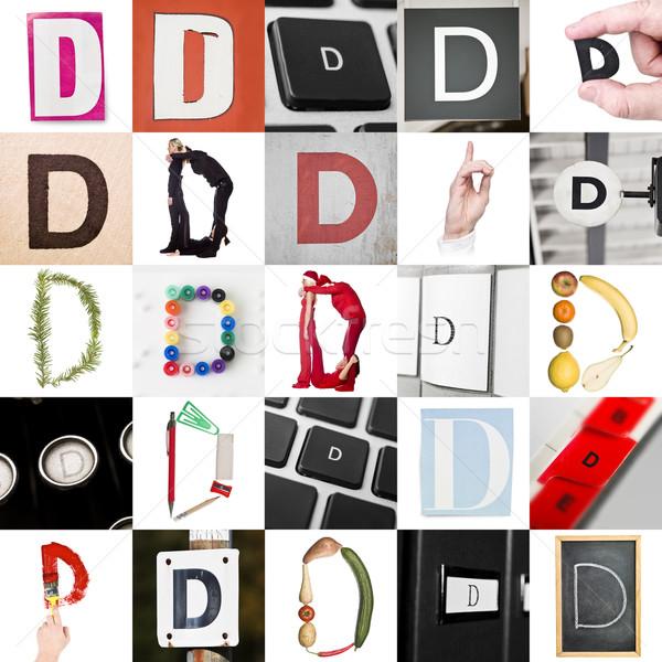 Kollázs d betű 25 képek papír újság Stock fotó © gemenacom