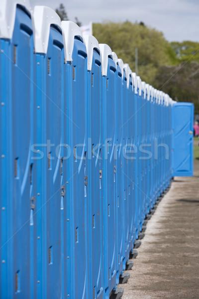 Hordozható csetepaté kék ajtó műanyag áll Stock fotó © gemenacom