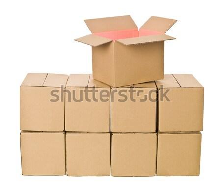 Stockfoto: Karton · dozen · huis · geïsoleerd · witte · toren