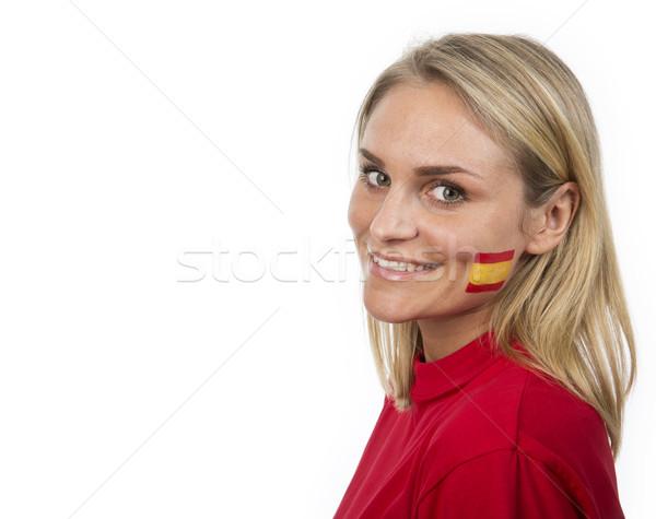 スペイン語 少女 若い女の子 スペイン国旗 描いた 頬 ストックフォト © gemenacom