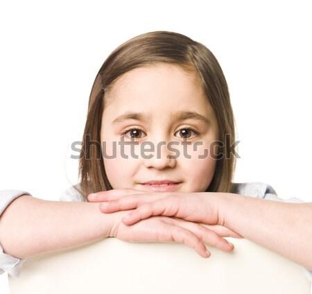 Portret jong meisje geïsoleerd witte vrouwen tiener Stockfoto © gemenacom