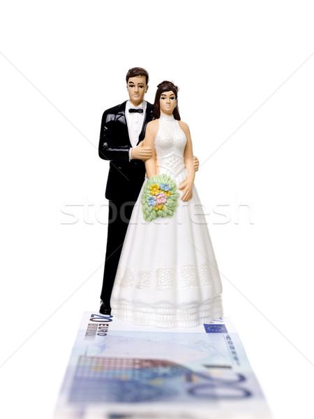Wedding Couple standing on a Euro Bank Note Stock photo © gemenacom