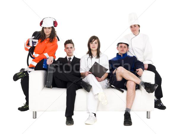 Grupy ludzi inny zawód posiedzenia sofa odizolowany Zdjęcia stock © gemenacom
