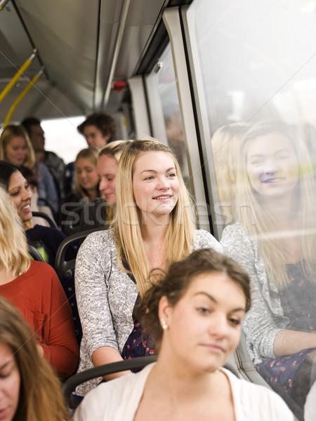 Gelukkig vrouw bus mensen meisje Stockfoto © gemenacom
