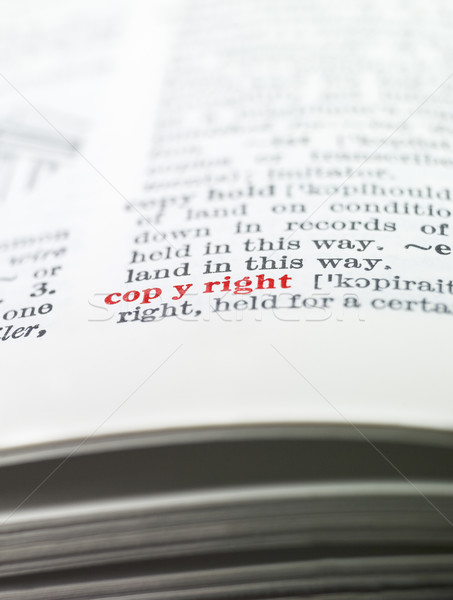 Kelime telif hakkı sözlük kâğıt kitap kırmızı Stok fotoğraf © gemenacom