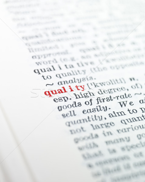 Kelime kalite sözlük kâğıt kitap kırmızı Stok fotoğraf © gemenacom