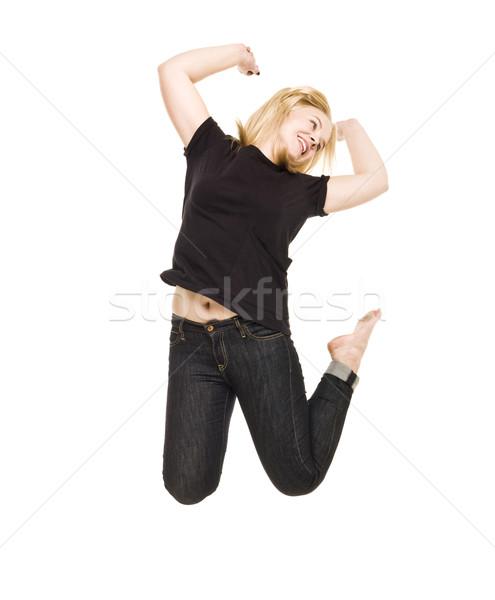 ジャンプ 女性 孤立した 白 楽しい 自由 ストックフォト © gemenacom