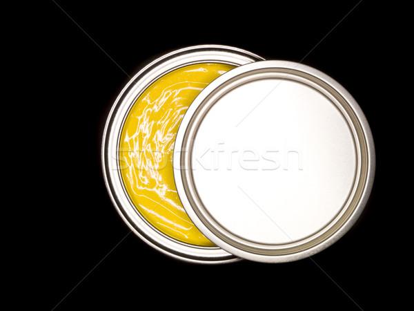 Citromsárga festékes flakon fölött fekete festmény folyadék Stock fotó © gemenacom