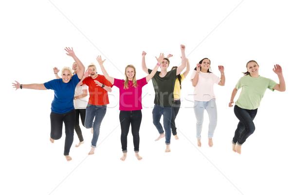 Boldog emberek izolált fehér nők jókedv csapat Stock fotó © gemenacom