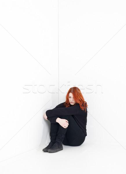 Szomorú nő fehér szoba fal szépség Stock fotó © gemenacom
