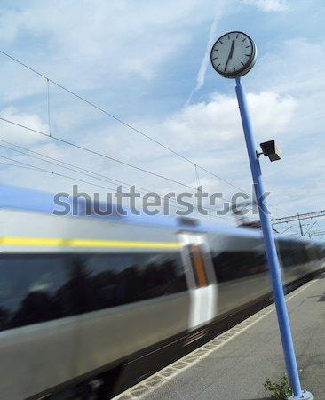 Trem estação de trem blue sky relógio tecnologia acelerar Foto stock © gemenacom