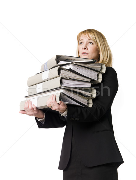 Woman overloaded with work Stock photo © gemenacom